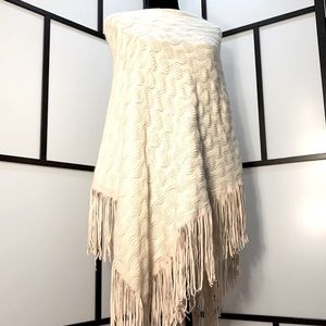 Poncho with Vegan Fringe Detail